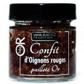 Confit d'Oignons Rouges Pailleté Or - Savor et Sens Tradition -
