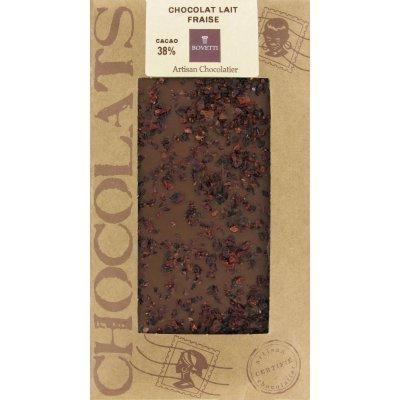 Tablette Chocolat Lait BIO éclats de Fraise Bovetti