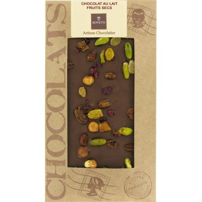 Tablette Chocolat Lait BIO Fruits Secs Bovetti