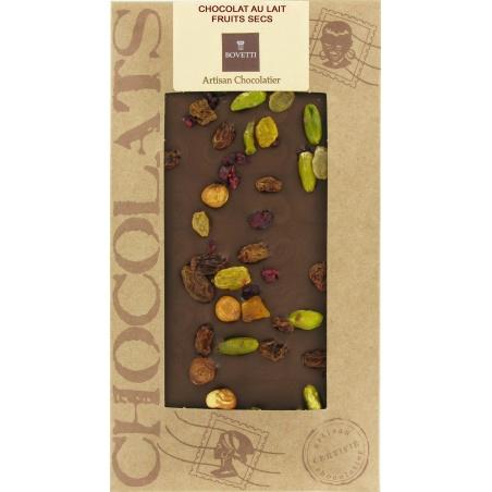 Tablette Chocolat Lait BIO Fruits Secs Bovetti
