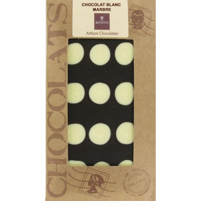 Tablette Chocolat Blanc Marbré Noir Bovetti Artisanale
