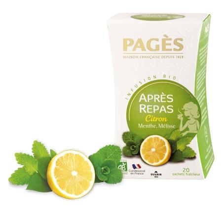 Infusion APRES REPAS Citron Menthe Mélisse BIO Pagès