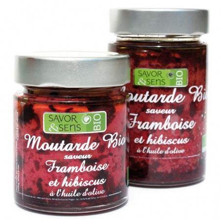 Moutarde Framboise et Hibiscus Bio 130g - Savor et Sens -