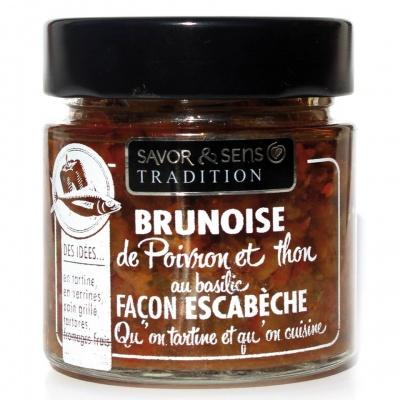Brunoise de Poivron, thon au basilic facon Escabeche Savor et Sens Tradition