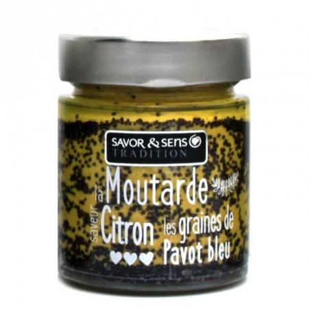 Moutarde saveur citron et graines de pavot bleu - Savor et Sens -