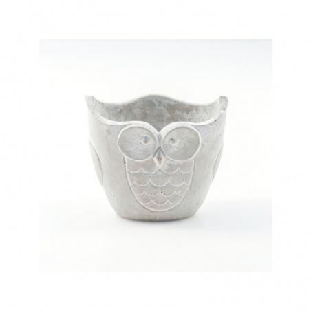 Cache Pot Ovale Ciment Hibou H 14