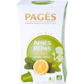 Capsules 10 Infusion APRES REPAS Citron Menthe Mélisse BIO Pagès