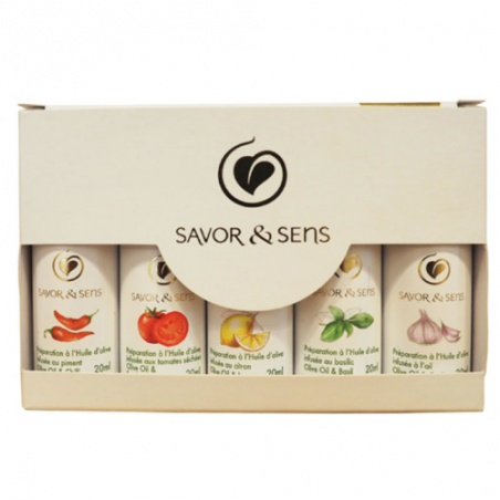 Coffret cadeau 5 Mini Huiles d'olive  Bio Savor et Sens