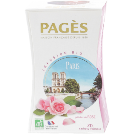 Infusion Paris Romantic Pétales de rose BIO Pagès