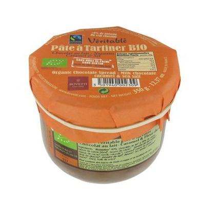Véritable Pâte à tartiner Chocolat Lait Caramel Fleur Sel BIO Bovetti 350g
