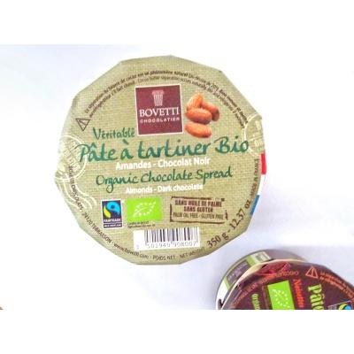 Véritable Pâte à tartiner Chocolat Lait Amandes BIO 350 g Bovetti sans huile de palme Sans Gluten