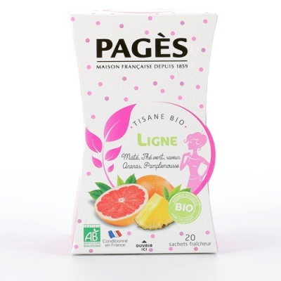 Infusion Ligne  Tisane bio Maté Thé vert saveur Ananas Pamplemousse  BIO Pagès