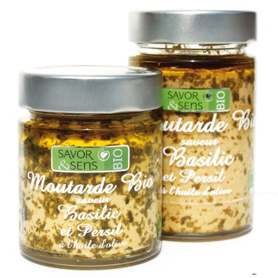 Moutarde Basilic et Persil Bio 100g