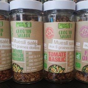 Muesli salé aux 5 graines dorées Tomate Basilic pour Salades Savor et Sens