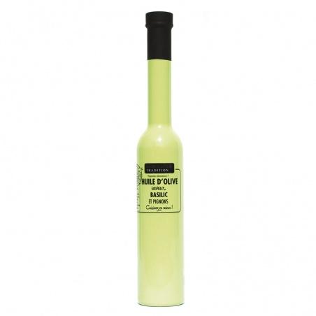 Huile d'olive Basilic et Pignons 200 ml Savor et Sens