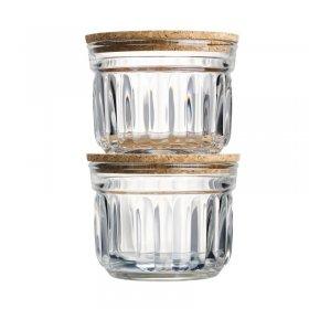 Set de 2 verrines conservation sèche avec couvercle en liège - en verre - La Rochère 29 cl