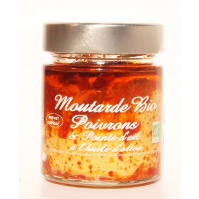 Moutarde Poivrons et Pointe d'Ail Bio 130g