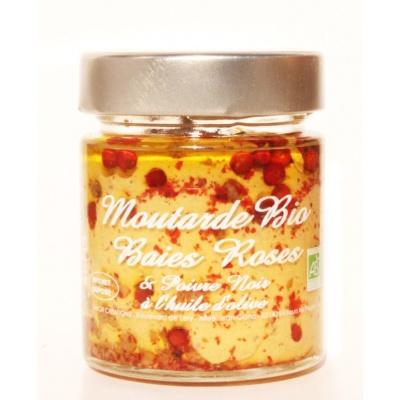 Moutarde Baies Roses et Poivre Noir Bio 130g